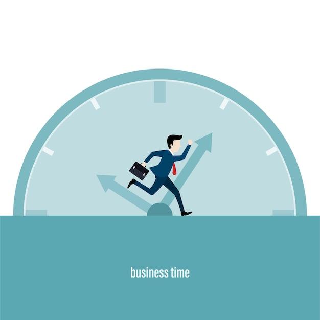 仕事の営業時間。走っているビジネスマンは、ローリングタイムを追いかけます。ビジネスコンセプト。フラットスタイルのベクトル図