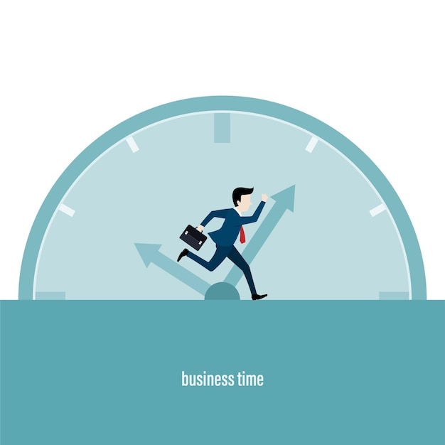 Business time working. businessman running chase a rolling time. business concept. vector illustration in flat style