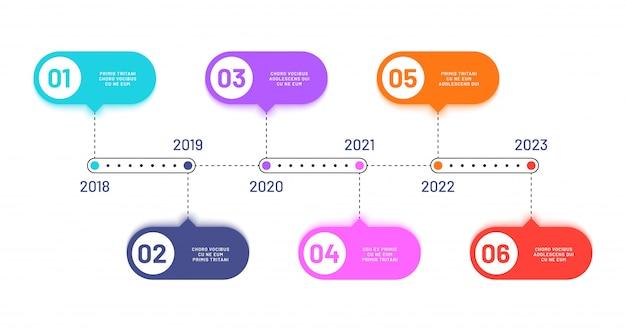 사업 일정. 6 프로세스 단계, 수평 워크 플로 처리 다이어그램. 인포 그래픽 벡터 순서도