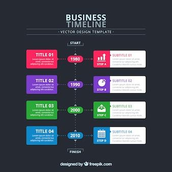 4 가지 색상의 비즈니스 타임 라인 개념