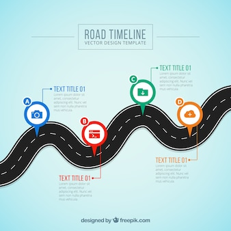Business timeline concept with curved road