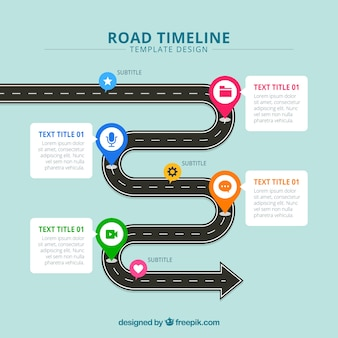 Business timeline concept with road