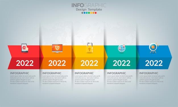 5つのオプションまたはステップを備えたビジネスタイムライン要素