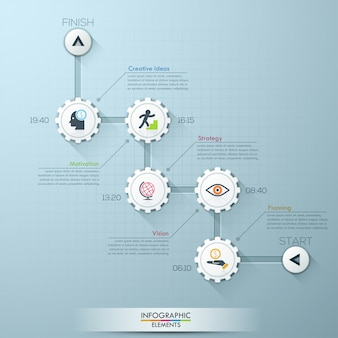Business timeline gear infographic template