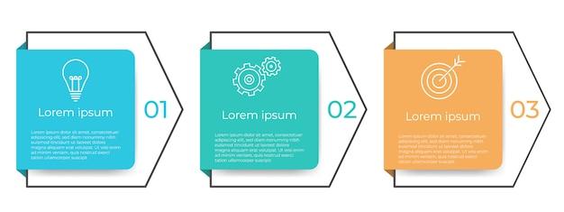 ビジネスタイムラインインフォグラフィックテンプレート3オプションまたはステップ。