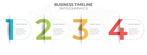 Business timeline infographic template 4 options or step.
