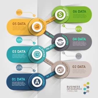 ビジネスタイムラインのインフォグラフィックテンプレート。ワークフローのレイアウト、バナー、図、番号のオプション、webに使用できます。