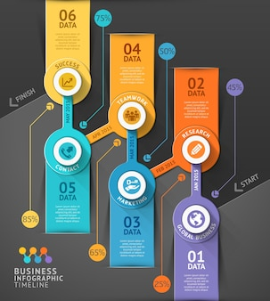 Business timeline infographic template.  can be used for workflow layout, banner, diagram, number options, web .