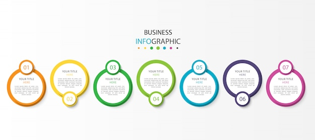 Business timeline infographic with 7 steps or options