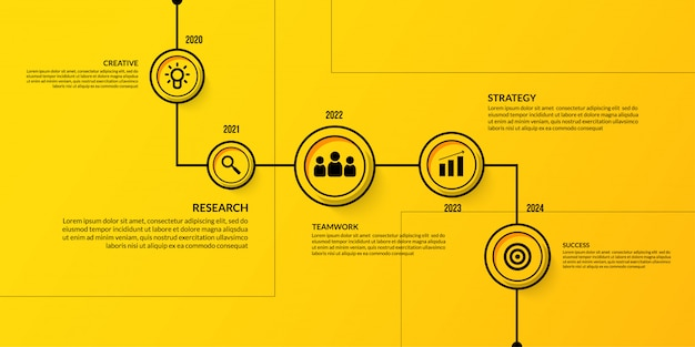 Business timeline infographic with multiple steps, outline data visualization workflow template