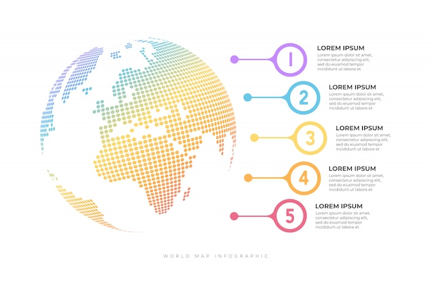 Business timeline with globe infographic template.