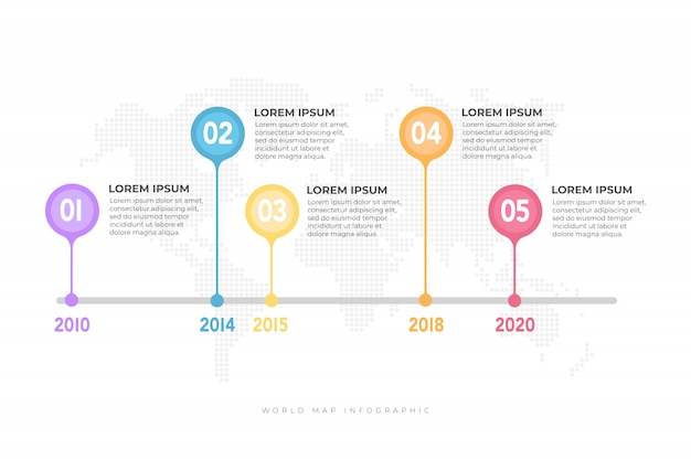 Business timeline with world map infographic.
