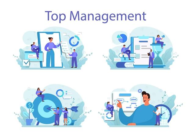 ビジネストップマネジメントコンセプトセット。成功する戦略、モチベーション、リーダーシップ。