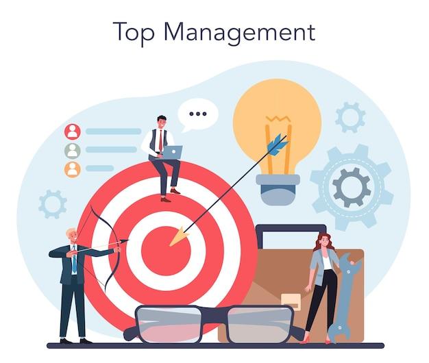 ビジネストップマネジメントの概念。成功する戦略、モチベーション、リーダーシップ。プロジェクトマネージャー、会社のceoのアイデア。孤立したベクトル図