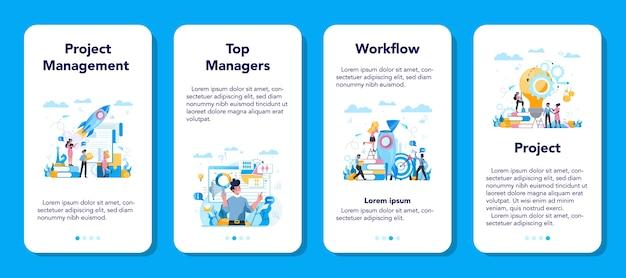 ビジネストップマネジメントモバイルアプリケーションバナーセット。成功する戦略、モチベーション、リーダーシップ。プロジェクトマネージャー、会社のceoのアイデア。孤立したベクトル図