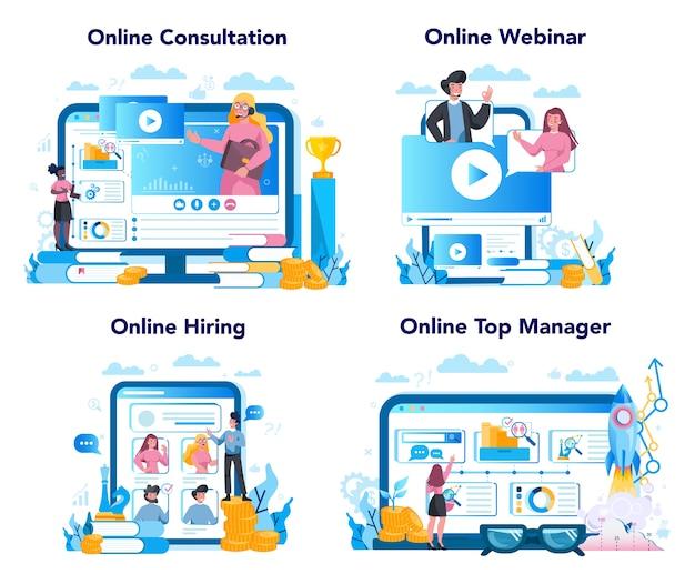 비즈니스 최고 관리 온라인 서비스 또는 플랫폼 세트. 성공적인 전략, 동기 부여 및 리더십. 웨비나, 채용. 상담 및 웹 사이트.