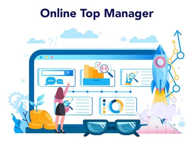 Business top management online service or platform