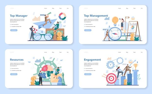 Business top management web banner or landing page set