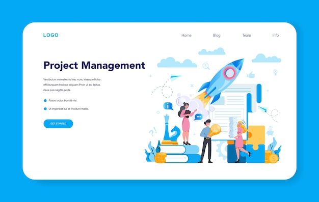 Business top management web banner or landing page.