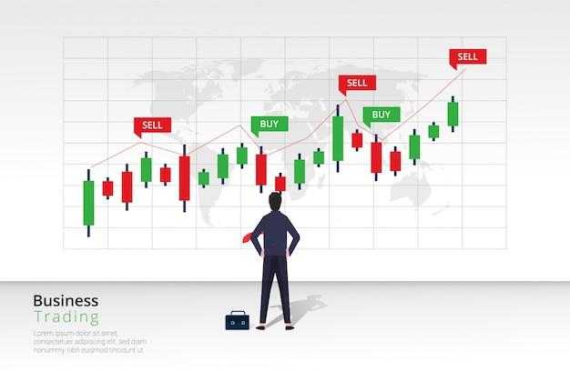 ビジネストレーディングデザインコンセプト。ビジネスマンのキャラクターは、棒グラフの投資を表示および分析します。