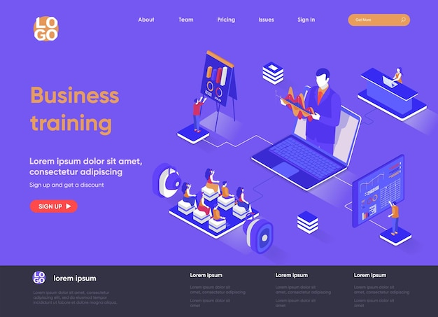 Business training 3d isometric landing page illustration with people characters