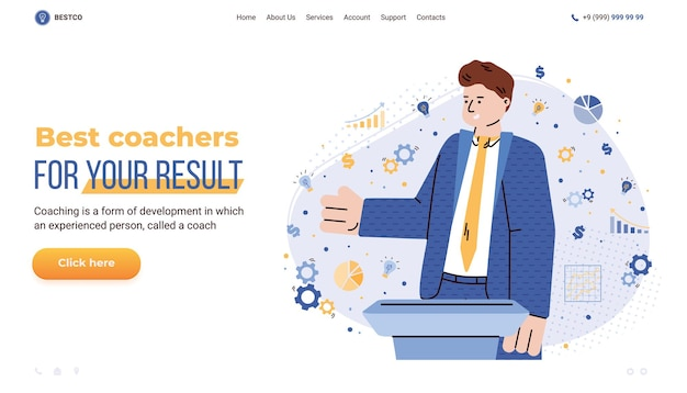 Business training and coaching services website cartoon vector illustration