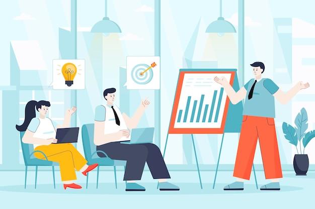 フラットデザインのビジネストレーニングの概念