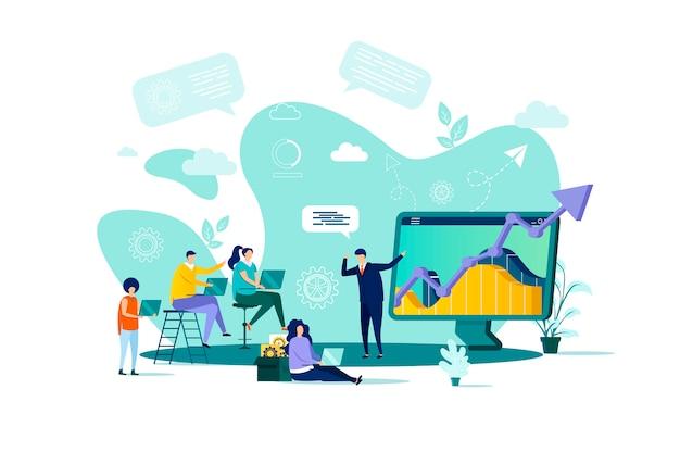 Концепция бизнес-обучения в стиле с персонажами людей в ситуации