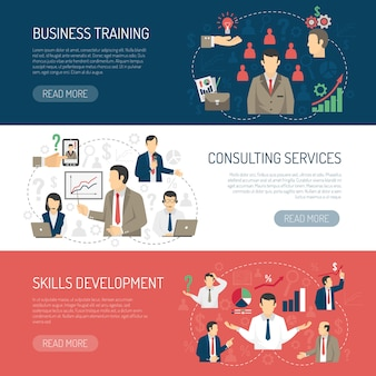 Business training consulting horizontal banners set