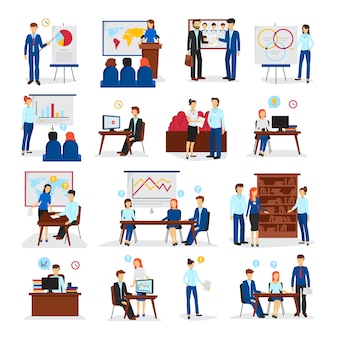 Business training and consulting programs for general management strategy and innovations flat icons