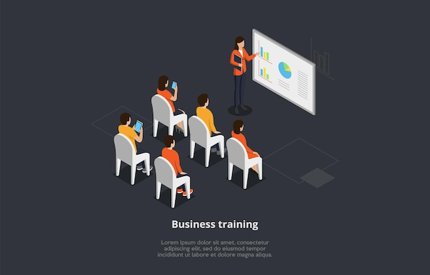 Business training or course concept vector illustration. isometric 3d composition with group of people studying from the screen