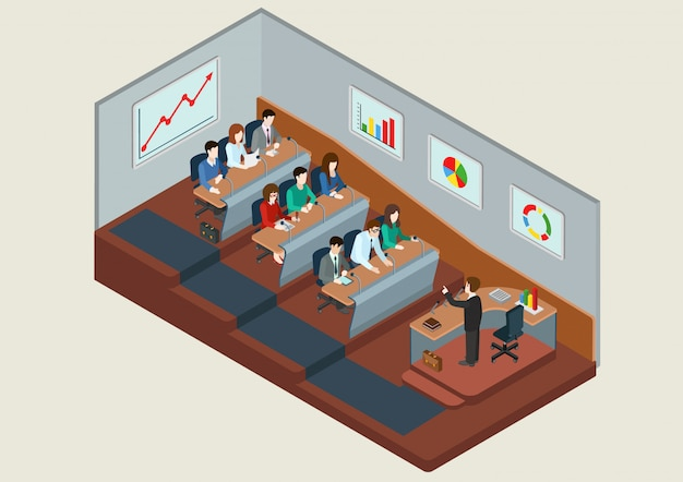 Business training education concept isometric   illustration. people in auditory listening to lecture teacher