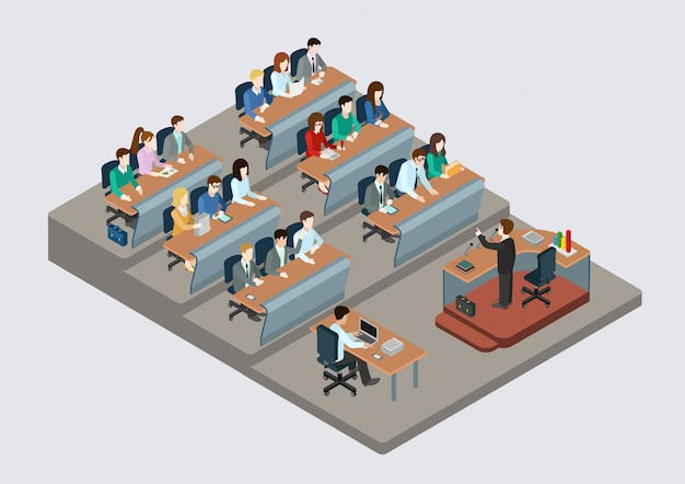Business training education concept isometric   illustration people in auditory listening to lecture teacher