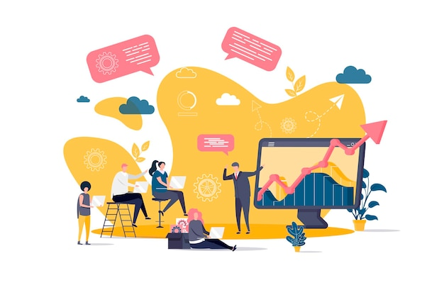 Business training flat concept with people characters  illustration