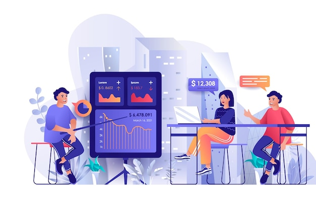 Business training flat design concept illustration of people characters