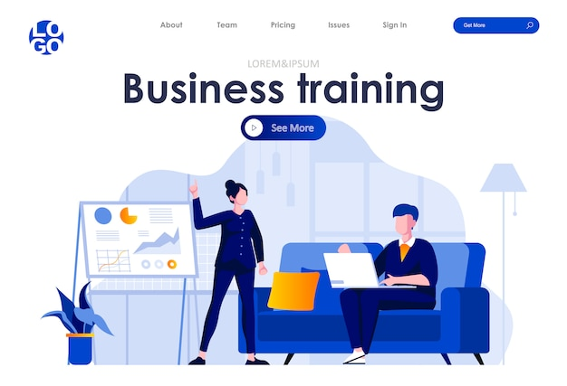 Business training flat landing page design web template