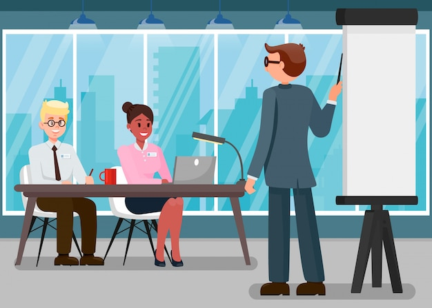 Business training flat vector color illustration