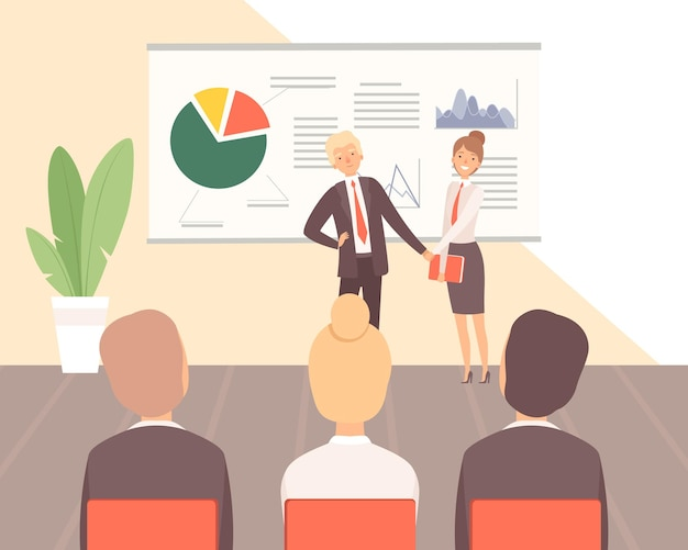 ビジネストレーニング。ゲスト講師、企業研修または財務および管理に関するセミナー Premiumベクター