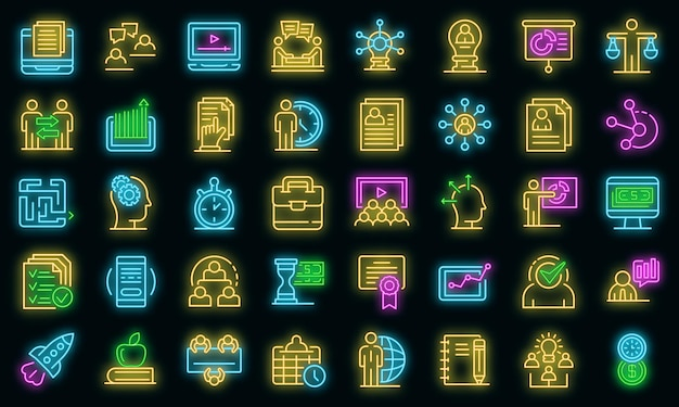 Business training icons set. outline set of business training vector icons neon color on black