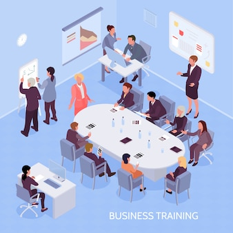 Business training isometric composition