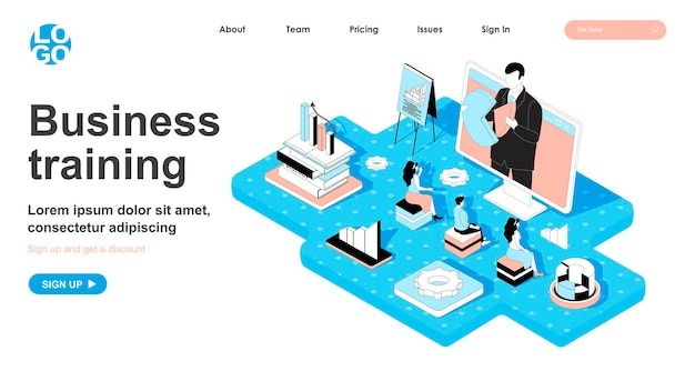 ランディングページの3dデザインのビジネストレーニングアイソメトリックコンセプト