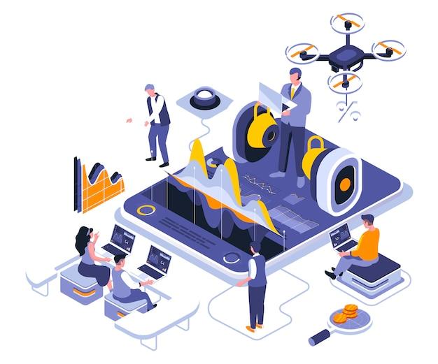 Business training isometric    illustration template