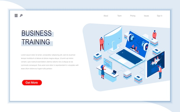 Business training isometric landing page template.