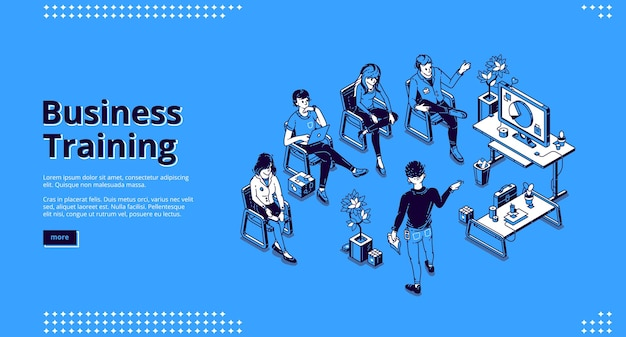 Business training isometric landing page.