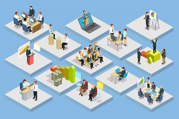 Business training isometric set