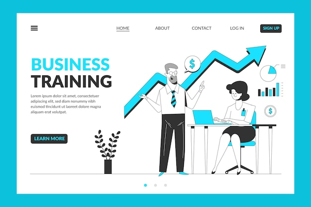 Business training landing page template