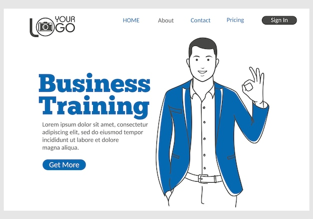 Business training landing page in thin line style.