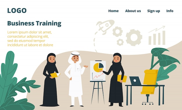 Business training landing web page, concept banner website template cartoon  illustration. company website page, arabic country corporation.