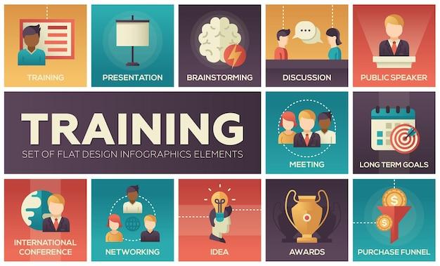 Бизнес-обучение - современные векторные иконки плоский дизайн и набор пиктограмм. презентация, встреча, обсуждение, цели, конференция, спикер, мозговой штурм, награды, идея, нетворкинг, покупка, воронка