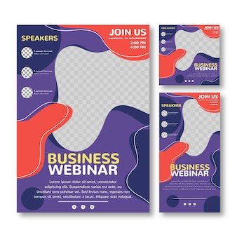 Business transparent webinar flyer print template